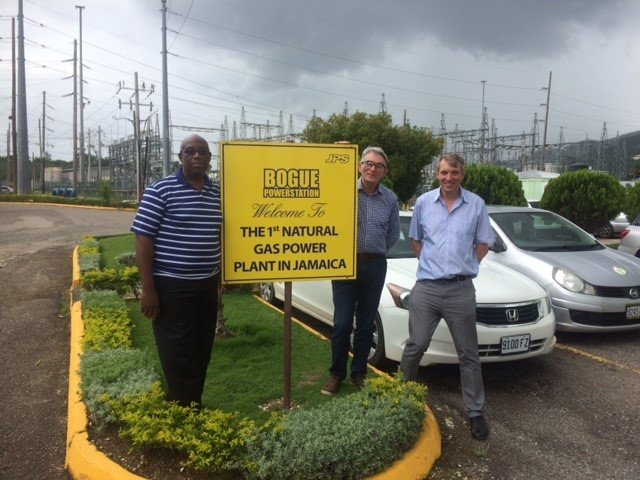 Douet Stennett, Jamaica Ministry of Science, Energy and Technology with David Drury and Martin Lambert of Gas Strategies at the Bogue gas-fired power plant.